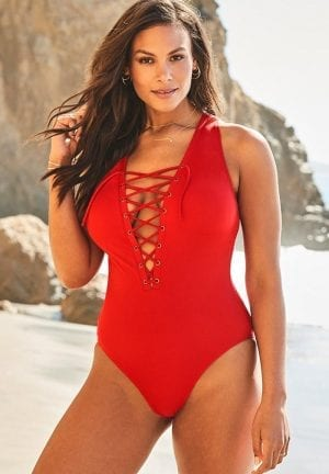 Ashley Graham CEO Lace Up One Piece Swimsuit (Lipstick Red)