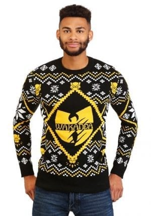 Black Panther Wakanda Intarsia Knit Ugly Sweater (Black/Gold)