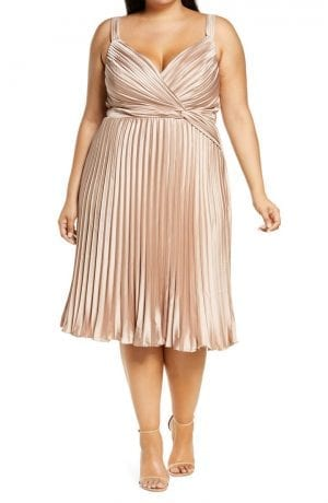 Chi Chi London Curve Pleated Satin Dress (Champagne)