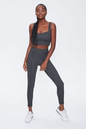 Forever 21 Jacquard Black Plaid Leggings