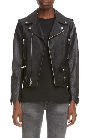 Saint Laurent Leather Moto Jacket (Black)