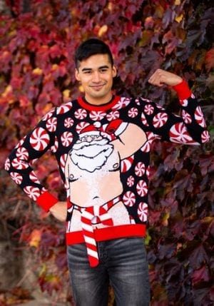 Santa Candy Cane Ugly Christmas Sweater