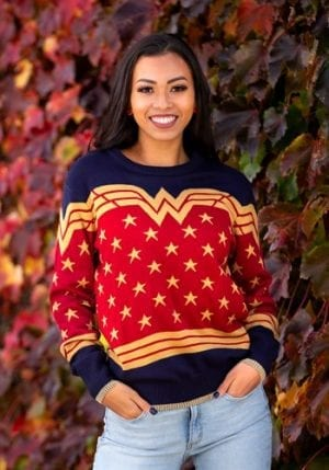 Wonder Woman Dark Blue Ugly Christmas Sweater
