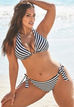 Ashley Graham Elite Triangle Bikini Set (Stripe)