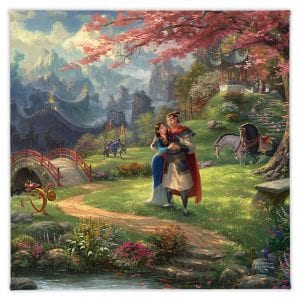 Thomas Kinkade Disney Mulan Blossoms of Love Gallery Wrapped Canvas Art