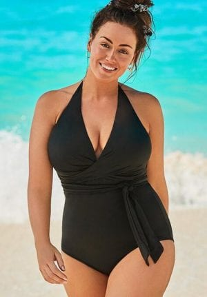 Swimsuits For All Faux Wrap Halter One Piece Swimsuit (Black)