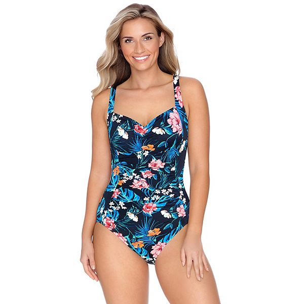 Croft & Barrow Shirred Tummy Control One-Piece Swimsuit (Natural Appeal)