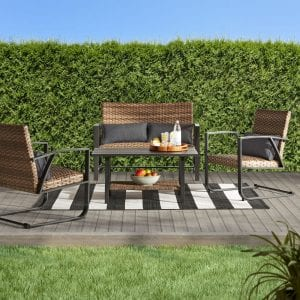 Better Homes & Gardens Porter Outdoor Patio Padded Wicker 4-Piece Conversation Set