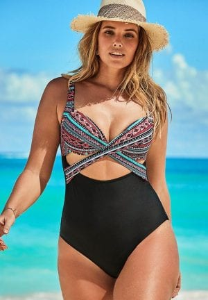 Cut Out Underwire One Piece Swimsuit (Multi)