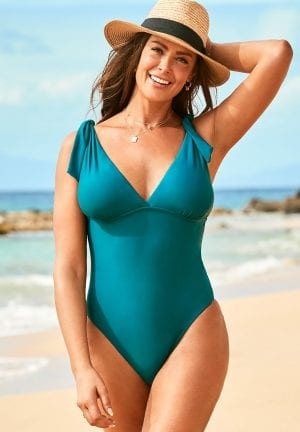 Swimsuits For All Tie Shoulder One Piece Swimsuit (Mediterranean)