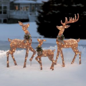 Holiday Time Set of 3 Light-up Rattan-Look Deer Family